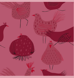 seamless pattern with chickens and rooster vector image