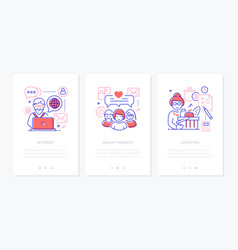 Senior people line design style web banners vector