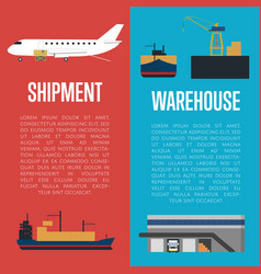 shipment and warehouse banner set vector image