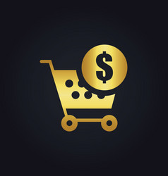 Shopping cart money buy gold logo vector
