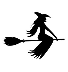 silhouette halloween witch vector image