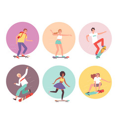 skateboarders urban activity hipsters characters vector image