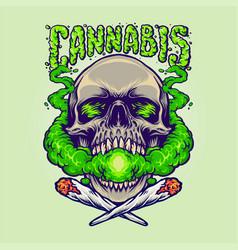 skull head cannabis clouds smoking marijuana vector image