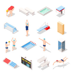 Sport swimming pool isometric icons vector
