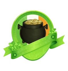 Sticker Pot of Gold Saint Patricks Day vector