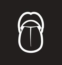 Stylish black and white icon human tongue vector