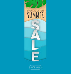 summer sale vertical banner paper cut vector image