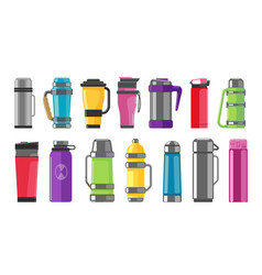 Thermos vacuum flask set isolated on white vector
