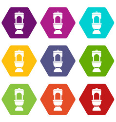 Toilet bowl icon set color hexahedron vector