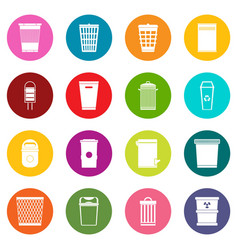 trash can icons many colors set vector image