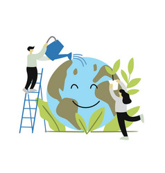 two people or ecologists taking care world vector image