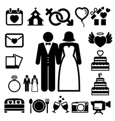 Wedding icons set vector