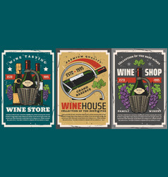wine and champagne bottles grapes vine winery vector image