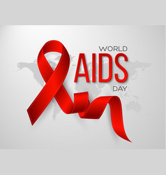 World aids day concept realistic awareness red vector