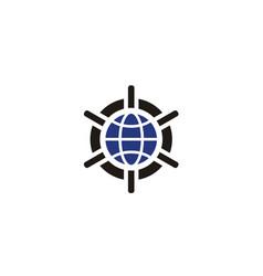 world globe wheel compass vault global logo vector image