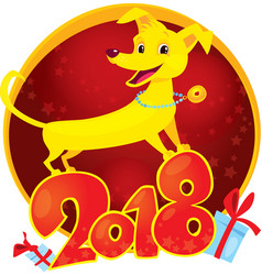 yellow dog - symbol of the new year 2018 vector image