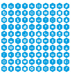 100 calories icons set blue vector