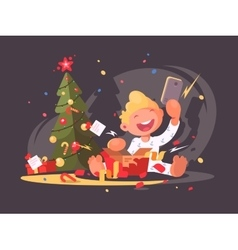 Child opens Christmas present vector image