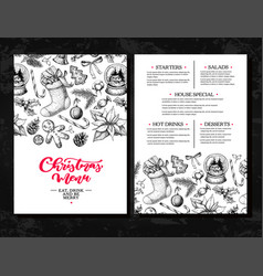 christmas menu chalkboard restaurant and cafe vector image