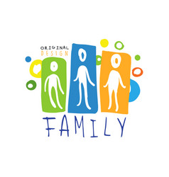 colorful family logo design with abstract people vector image vector image