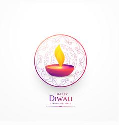 Happy diwali simple greeting with vibrant diya vector
