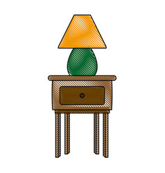 wooden table with lamp decoration furniture icon vector image