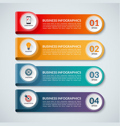 Infographic options banner with 4 steps vector image vector image