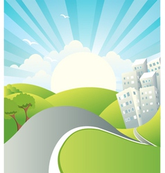 Landscape with road vector image
