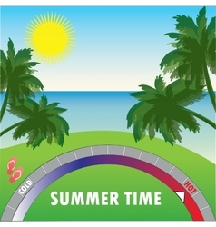Summer background with palm trees and the sea and vector image