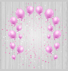 celebration background with pink balloons and vector image
