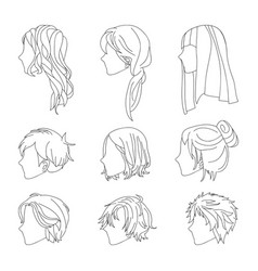 hairstyle side view man and woman line vector image vector image