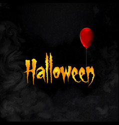 halloween greeting card with lettering and red vector image