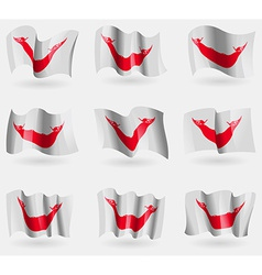 Set of Eaaster Rapa Nui flags in the air vector image