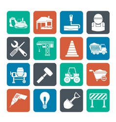 Silhouette Building and construction icons vector image vector image