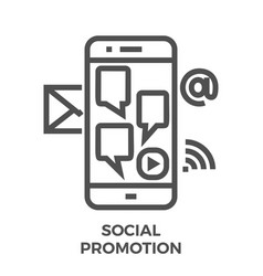 social promotion line icon vector image vector image
