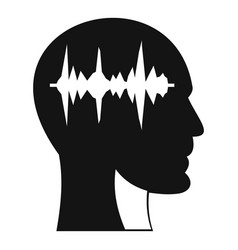 sound wave icon in human head icon simple style vector image vector image