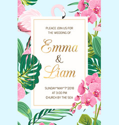 wedding invitation tropical leaves orchid flamingo vector image vector image