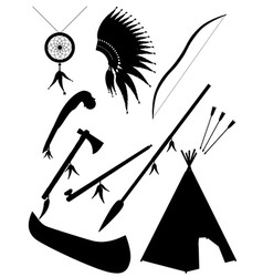 black silhouette set icons american indians vector image