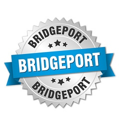 Bridgeport round silver badge with blue ribbon vector image vector image