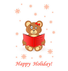 cute bear teddy card greeting happy holiday vector image