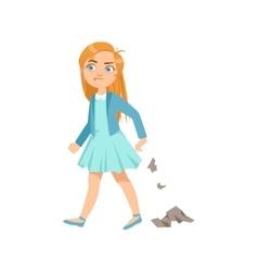 Girl Littering Teenage Bully Demonstrating vector image vector image