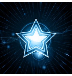 glowing blue star vector image vector image