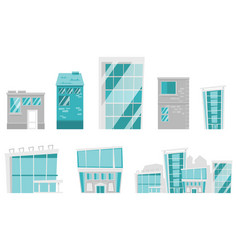 modern buildings cartoon set vector image vector image