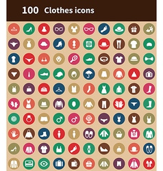 100 clothes icons vector image