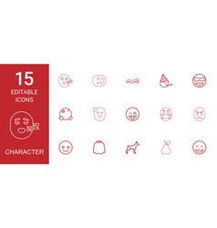 15 character icons vector