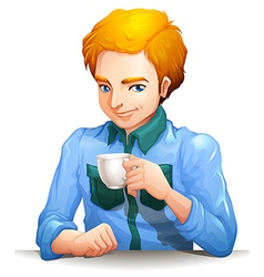 A man with a cup of tea vector