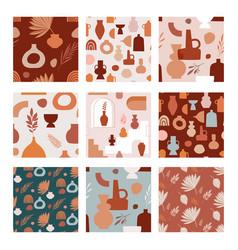 Abstract bohemian art aesthetic seamless pattern vector