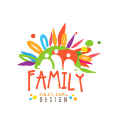 abstract family logo with flat colors vector image