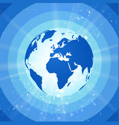 abstract world globe blue planet earth with vector image