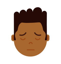 African boy head emoji with facial emotions vector